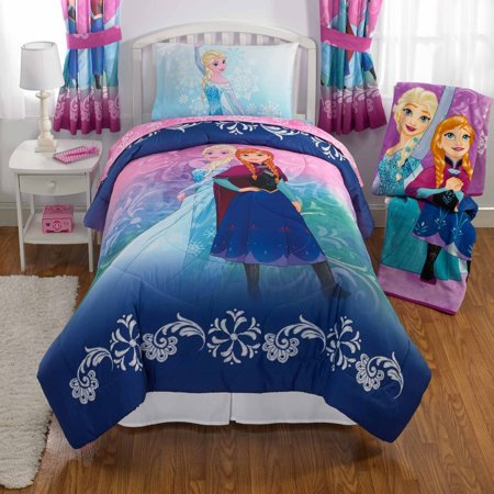 Disneys Frozen Elsa & Anna Bed in a Bag Kids Bedding Set, Nordic Frost, w/ Reversible Comforter