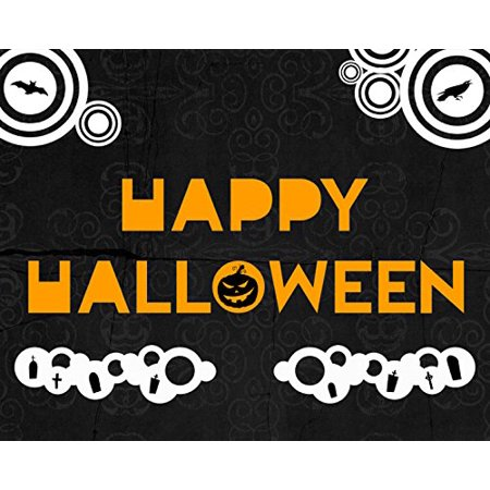 Halloween Letters Black And White (Happy Halloween Print Black Design Background Orange Letters Pumpin White Tombstone Bat Bird Picture Wall Decoration Seasonal)