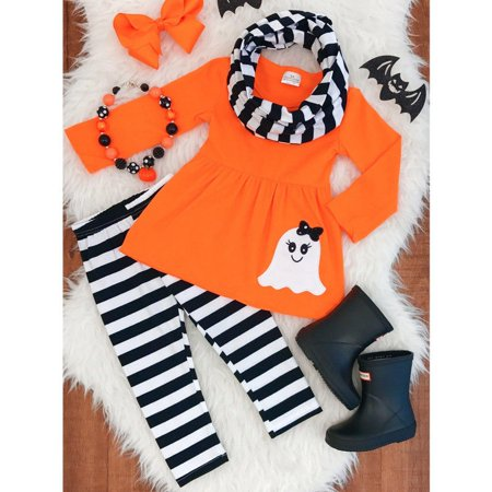 Baby Kids Girls Halloween T-shirt Dress+Leggings+Headband Costume Clothes Outfit - Halloween Outfits For Toddlers