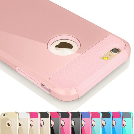 iPhone 6S Case, iPhone 6 Case, Njjex [Rose Gold] Hybrid Shock Absorbing Impact Defender Slim Hard Case Cover Plastic Shell Outer +TPU Rubber Silicone Inner For Apple iPhone 6S/6 (4.7 inch) - Ladies Rose Gold Case