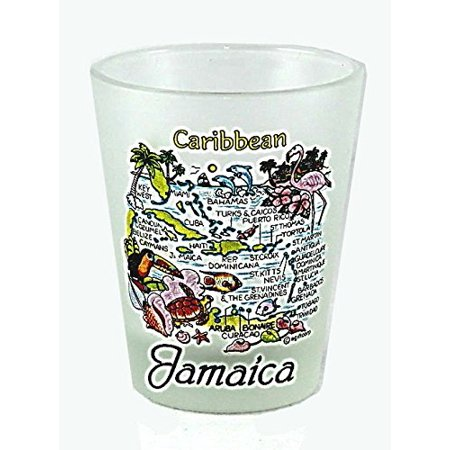 Jamaica Caribbean Map Frosted Shot Glass Lpco