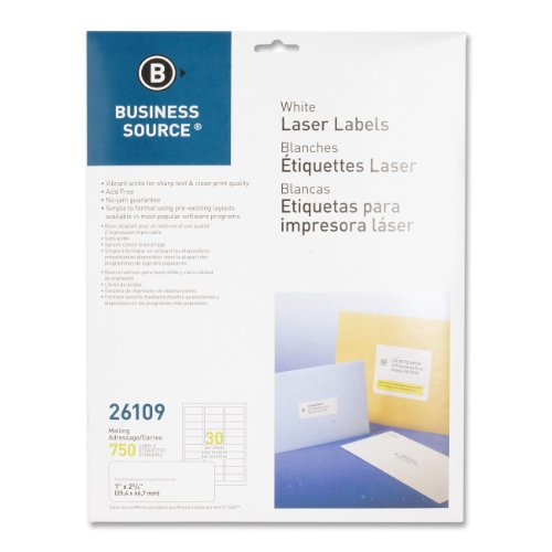 "Business Source 1""x2-5/8"" Address Laser Labels - Permanent Adhesive - 1"" Width x 2.63"" Length - 30 / Sheet - Rectangle - Laser - White - 25 / Box"