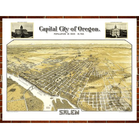 Ted's Vintage Art Map of Salem, OR 1905; Old Oregon Decor 24