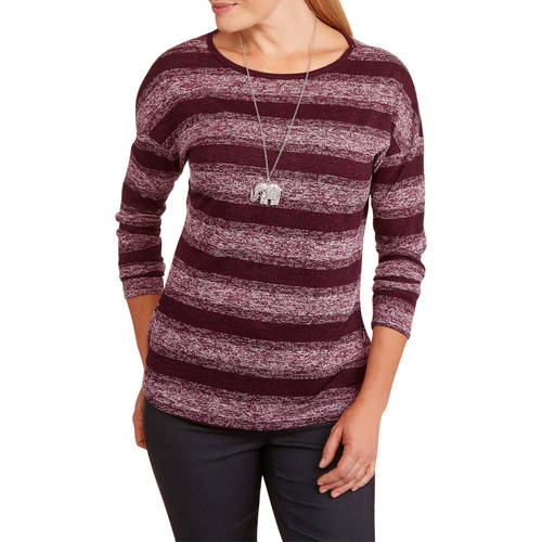 Tru Self Women's 2-Fer Striped Long Sleeve T-Shirt with Necklace