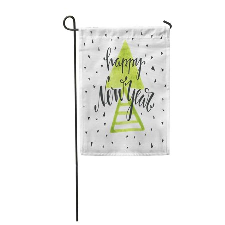 LADDKE Happy New Year Lettering Holiday Composition Modern for Sign Header Garden Flag Decorative Flag House Banner 12x18 inch ()