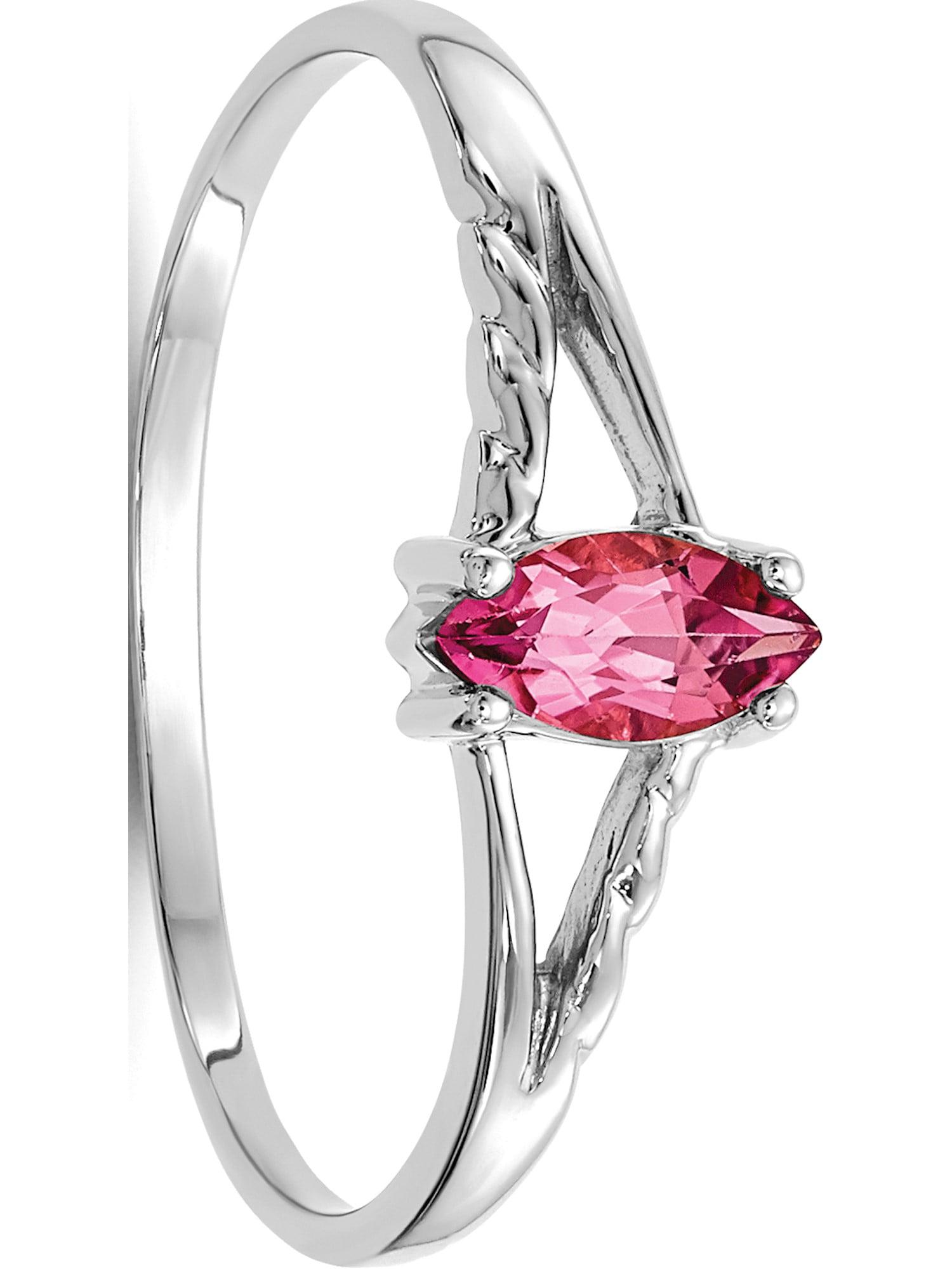 10k White Gold White Polished Geniune Pink Tourmaline Birthstone Ring by