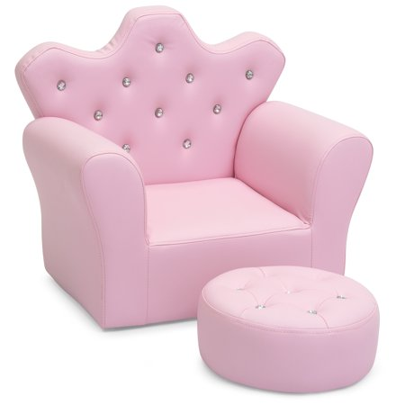 Best Choice Products Kids Upholstered Tufted Bejeweled Mini Chair Seat w/ Ottoman -