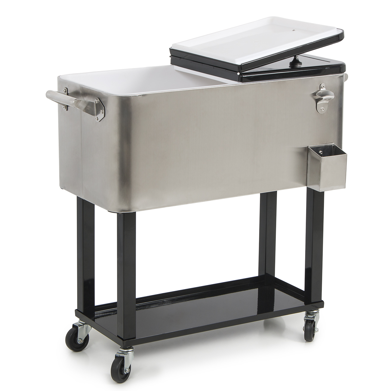Belleze 80-quart Portable Rolling Ice Chest Cooler Cart Patio Party Drink Ice, Stainless Steel