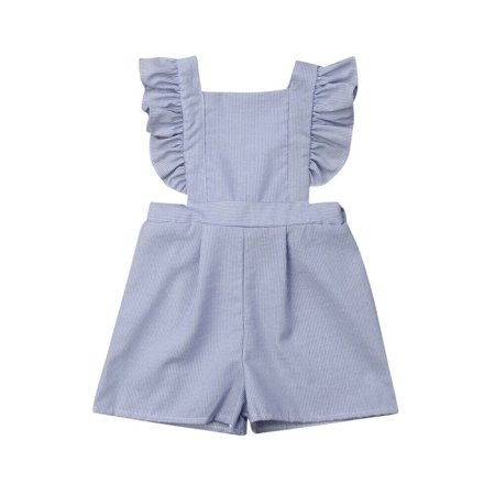 Summer Kids Toddler Girl Stripe Ruffle Bib Pant Romper Jumpsuit Overalls Outfits](Striped Overalls)