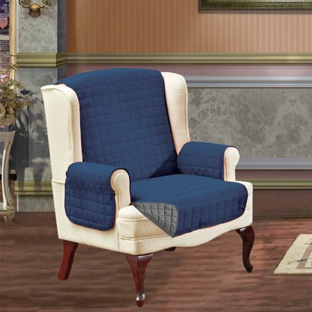 Slipcover/Furniture Protector Great for Pets & Children with STRAPS TO PREVENT SLIPPING OFF, Wing Chair, Navy Blue/Gray (Kid Wings)