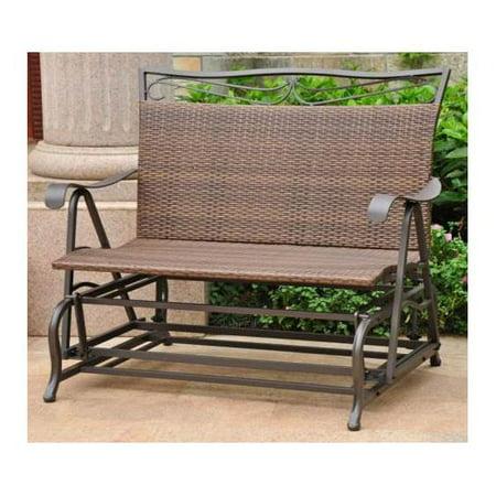 Wicker Resin/Steel Single Hanging Patio Chair Swing (Antique Brown) ()