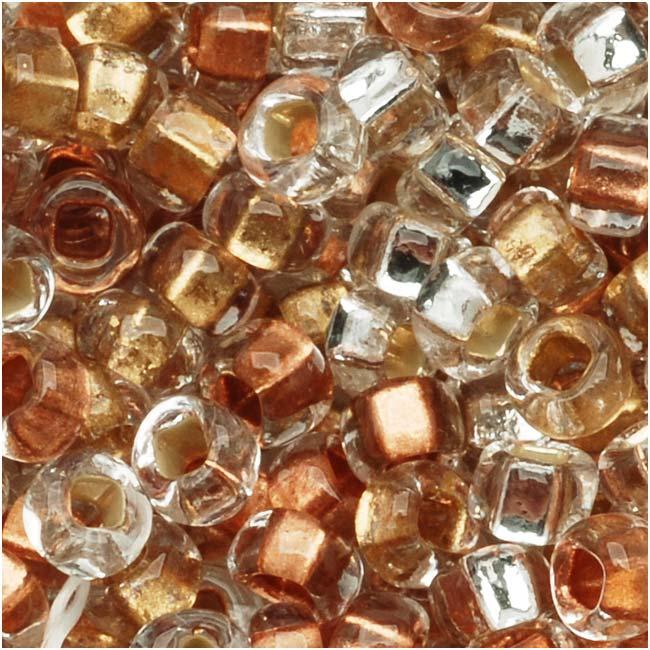 Czech Seed Beads 8/0 Crystal Metallic Foil Lined Mix (1 Ounce)