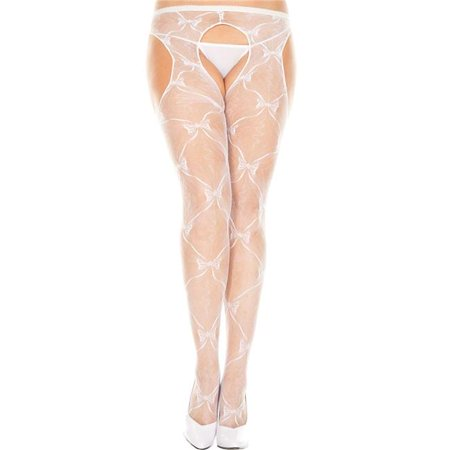 Music Legs 933Q-WHITE Plus Size Bow Lace Suspender Pantyhose, White