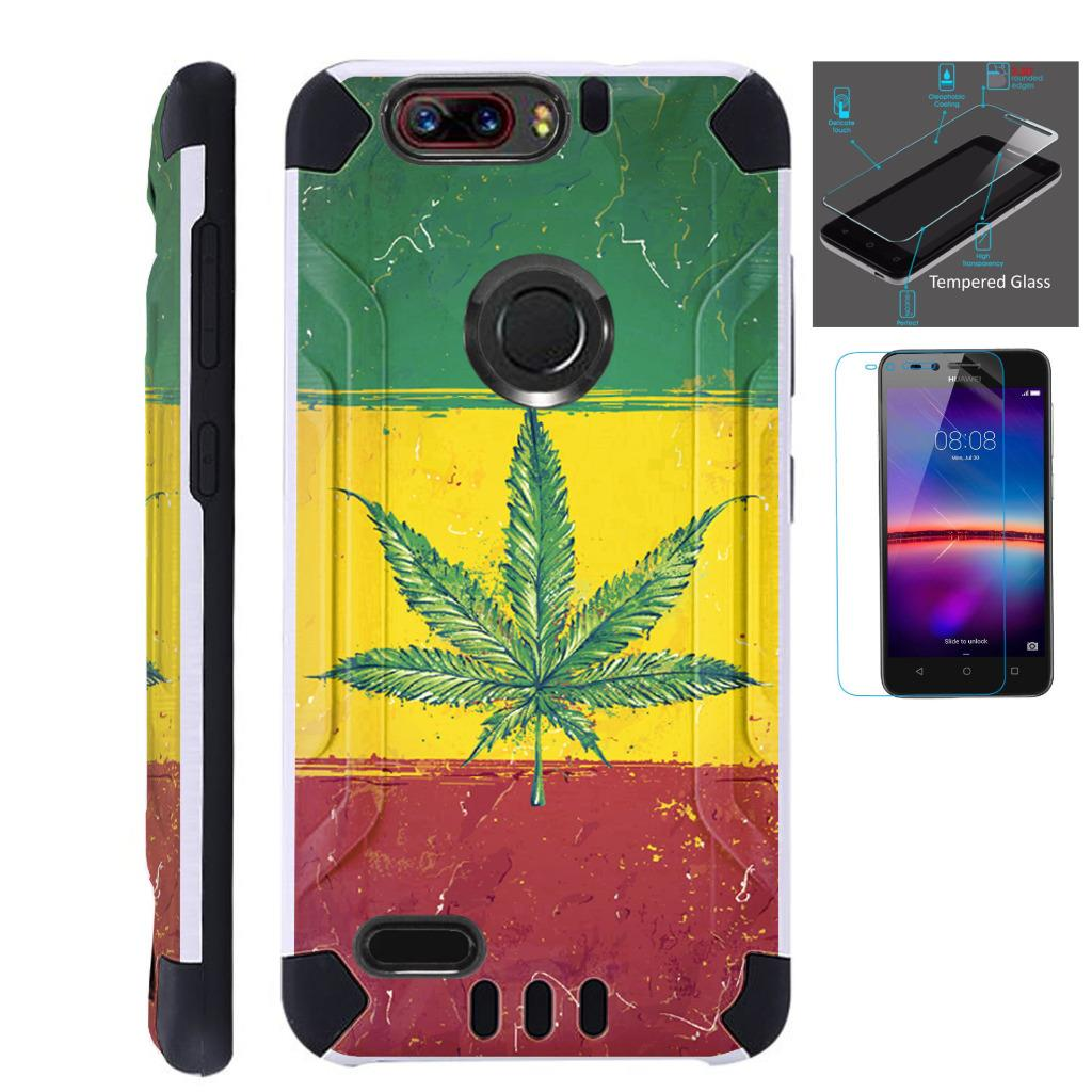 For ZTE Blade Z Max (Metro PCS) / ZTE ZMax Pro 2 / ZTE Grand X Max 4 / ZTE Sequoia Case + Tempered Glass Slim Dual Layer Brushed Texture Hybrid TPU KomBatGuard Phone Cover (Weed Nation Flag)