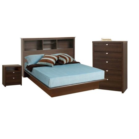 4 piece bedroom set with nightstand headboard full platform bed and chest in espresso. Black Bedroom Furniture Sets. Home Design Ideas