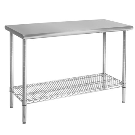 Seville Classics Commercial Stainless Steel Top Worktable, NSF Listed Bakers Top Work Table