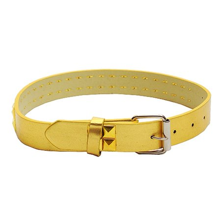 Gold 2 Row Studded Genuine Leather Fashion Belt Girls S-XL (19-35 in) Row Pyramid Stud Leather