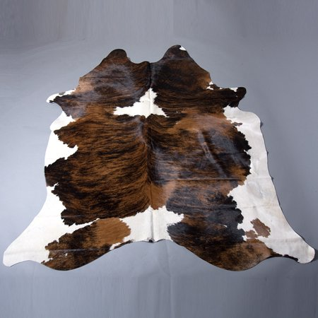 NATURAL BRAZILIAN EXOTIC TRI COLOR HAIR-ON LEATHER COWHIDE THROW RUG - Tri Color Leather