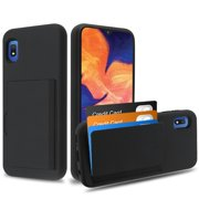 Samsung Galaxy A10E Wallet Phone Case Ultra Protective Cover with 3 Cedit Cards ID Holder Slot [Slim] Heavy Duty Shockproof Hybrid Hard PC + TPU Armor BLACK Case Cover for Samsung Galaxy A10 E /A102