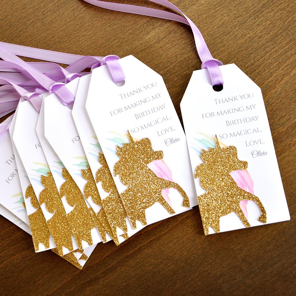 Unicorn Thank You Tags. Unicorn Party Favors. Personalized Thank You Tags. 10CT.