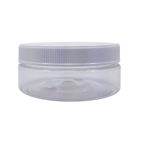 Hard Lid (Perfume Studio® Empty 4oz Clear Jar with White Ribbed Foam Liner Lid. Safe PETE FDA Approved BPA/Phthalate Free HARD Plastic. Refillable Low Profile Multi-Purpose Jar with Blank Label (3, Clear) )