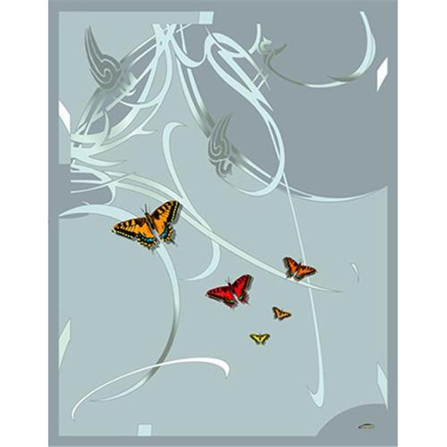 Lama Kasso RB9P Green on Aqua Art Deco Satin Throw with Silver Grey Accents and Butterflies Micro-suede Underside 48 in. x 63 in. Satin Throw