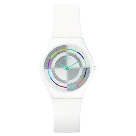 Swatch SFW109 Women's White Party Silver Dial White Silicone Strap (Strap Silver White Dial)