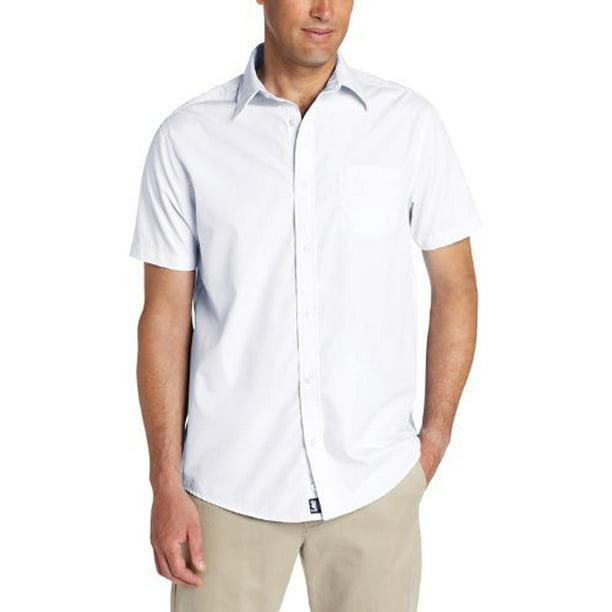Lee Mens Short Sleeve Button Down Poplin Woven Poly / Cotton Dress Shirt, 34346 White / Small