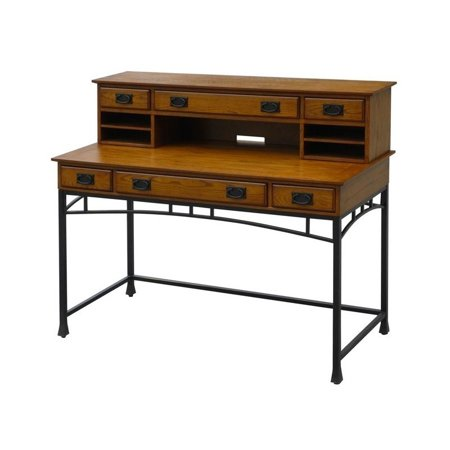 Bowery Hill Computer Desk And Hutch In Distressed Oak