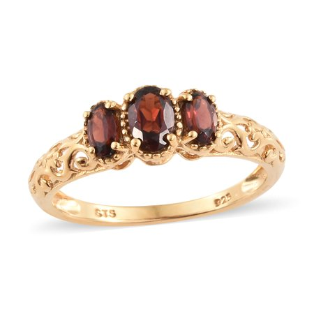 Sterling Silver 14K Yellow Gold Plated Garnet Statement Ring -