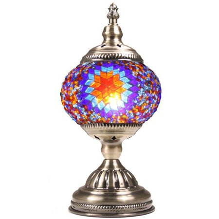 Silver Fever Handcrafted Mosaic Turkish Lamp -Moroccan Glass - Table Desk Bedside Light- Bronze Base (Purple (15a Lamp)