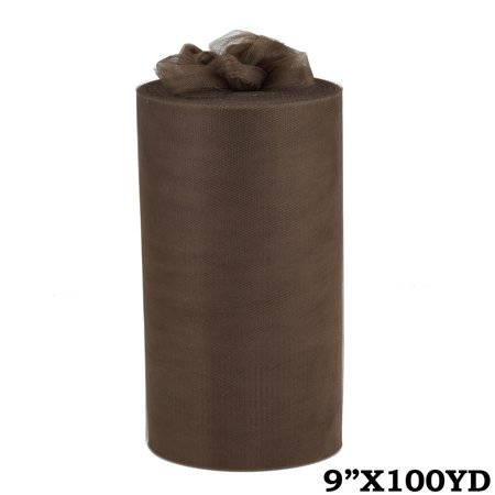 "9"" Wide x 300 ft Wedding Favors Craft TULLE by the Roll - Chocolate Brown"