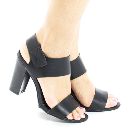 Sandra1 by Aquapillar, Open Toe Velcro Ankle Cuff Chunky High Heel (Ankle Cuff Sandal)