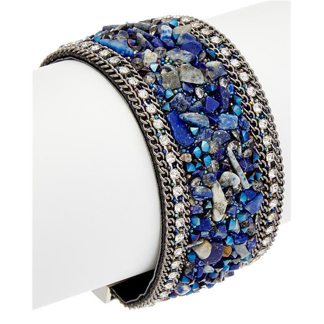 Crystal & Stone Magnetic Closure Bracelet, Cobalt Blue Quartz - image 1 of 1