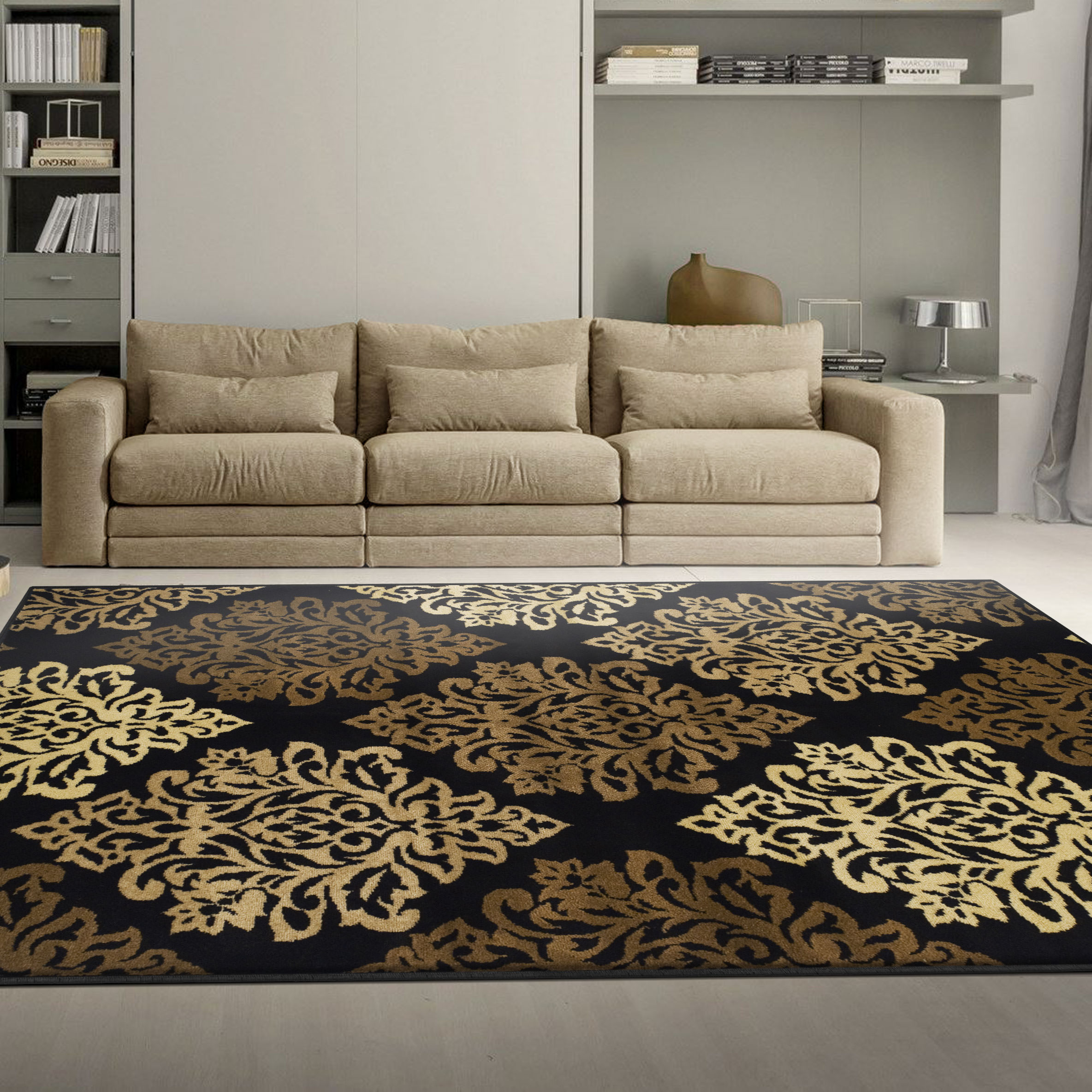 Superior Modern Elegant Damask Pattern, 10mm Pile with Jute Backing, Affordable Contemporary Danvers Collection Area Rugs