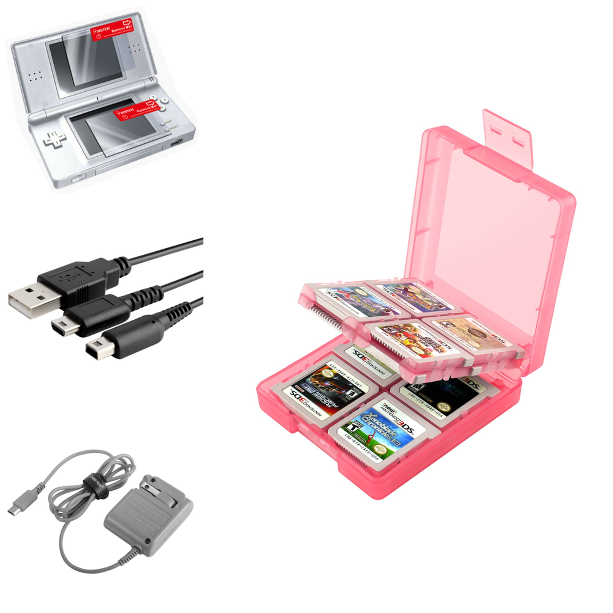 Charger for Nintendo DS Lite by Insten, Grey + Coral 16 in 1 Card Case + USB + 2-LCD Protector