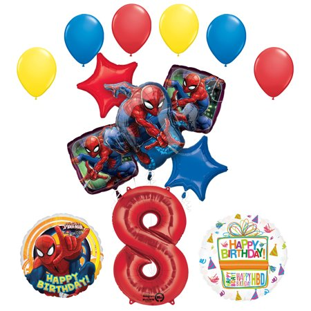 Spiderman Birthday Decorations (The Ultimate Spider-Man 8th Birthday Party Supplies and Balloon)