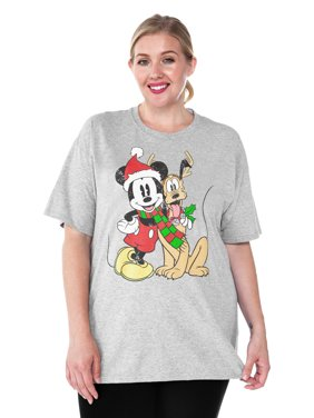 4c319b6b5a3 Product Image Women s Plus Size Mickey Mouse Pluto Christmas T-Shirt  Heather Gray.