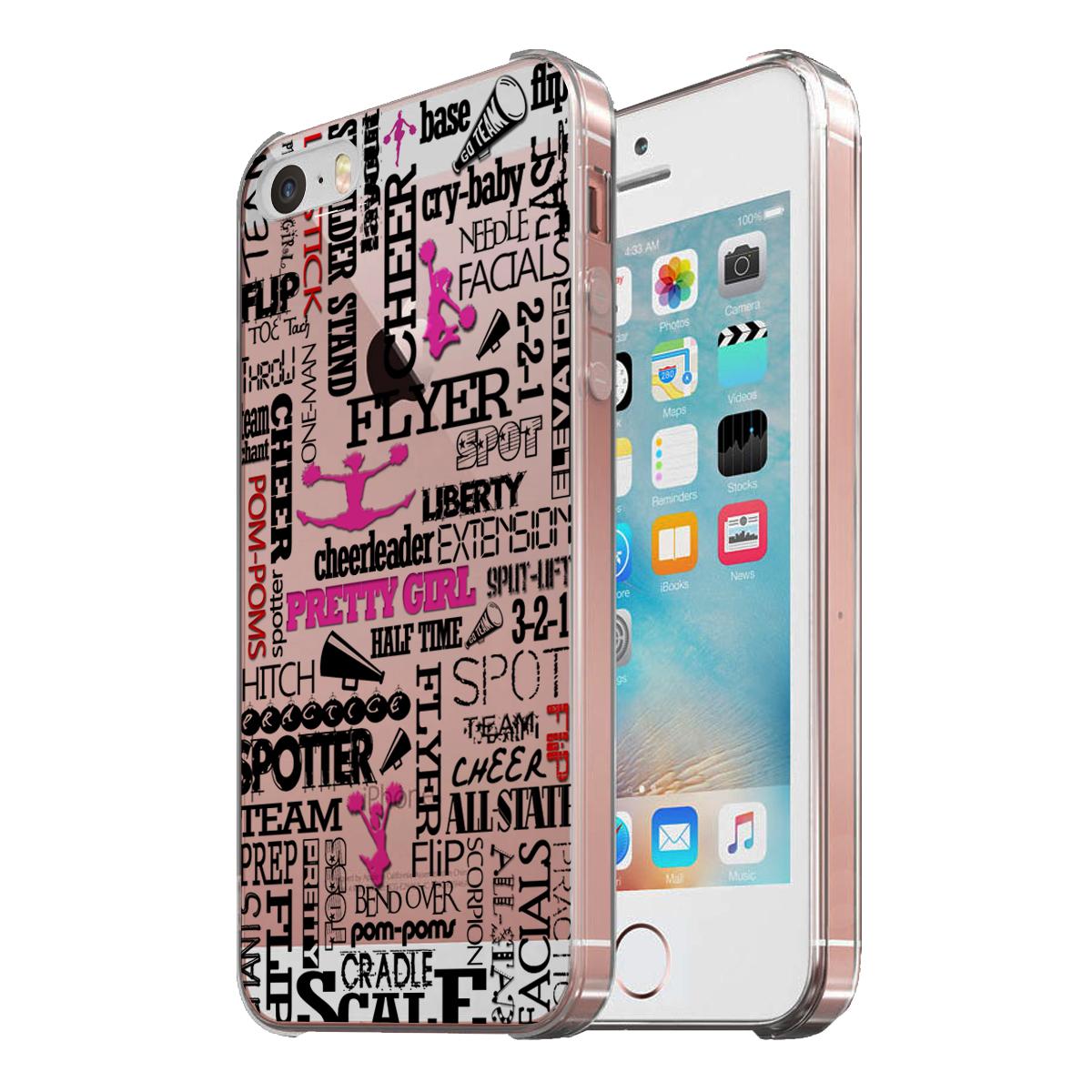 KuzmarK Clear Cover Case fits iPhone SE & iPhone 5 - Cheerleader Cheer