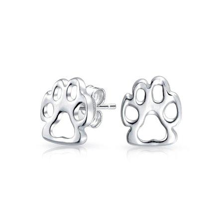 Sterling Silver Fox Paw Print Animal Stud Earrings Pee