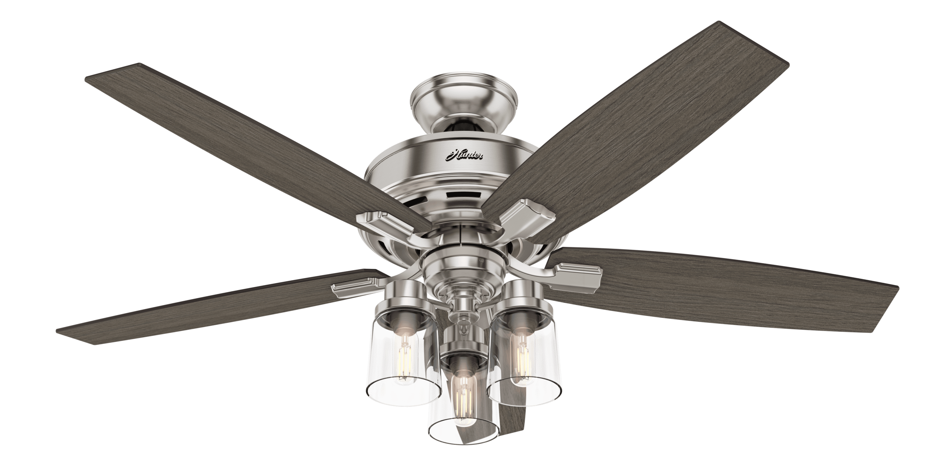 52 Quot Hunter Bennett With 3 Light Brushed Nickel Ceiling Fan With Led Light Kit And Remote Control