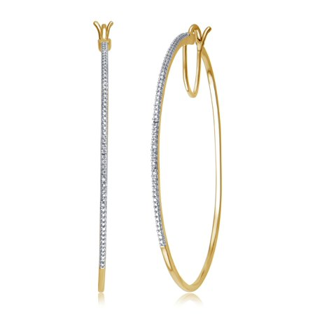 Elegant 0.02 Carat Natural Diamond Accent Hoop Earrings In 14K Yellow Gold