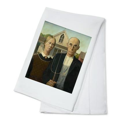 American Gothic   Masterpiece Classic   Artist  Grant Wood C  1930  100  Cotton Kitchen Towel