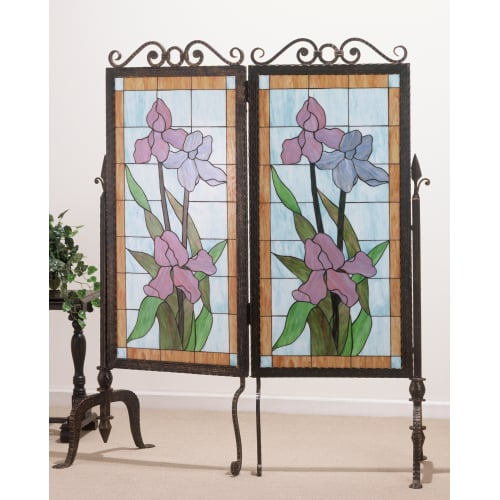 Meyda Tiffany 65253 Tiffany Two Panel Stained Glass Screens from the Iris Collec by Meyda Tiffany
