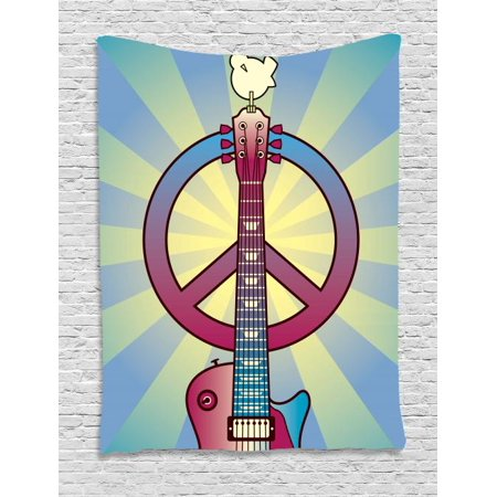 Hippie Tapestry, Illustration of a Guitar Peace Symbol and Dove Dedicated to the Woodstock Festival, Wall Hanging for Bedroom Living Room Dorm Decor, 40W X 60L Inches, Multicolor, by Ambesonne](Colts Room Decor)