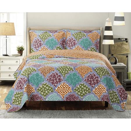 Giant Dahlia Quilt (Dahlia Coverlet Wrinkle Free Set Oversized Reversible Set- King/California King )