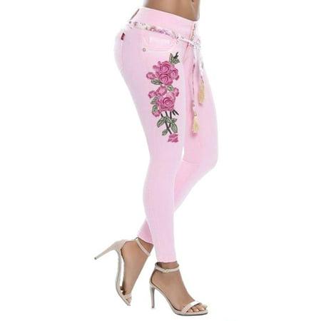 Denim Leggings Skinny Jeans Women Boyfriend Plus Size Floral Print Slim Fit Jeans Elastic Skinny Jeans Casual Mid Rise Trousers Pants (Fleece Print Jeans)