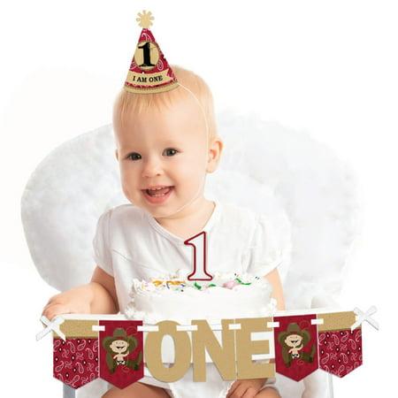 Little Cowboy 1st Birthday - First Birthday Boy Smash Cake Decorating Kit - High Chair Decorations](Cowboy Cake)