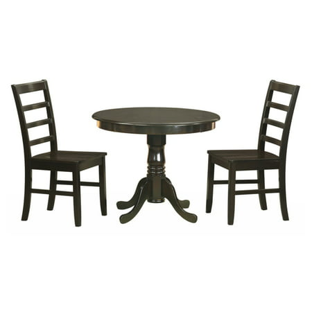 East West Furniture Antique 3 Piece Pedestal Round Dining Table Set with Parfait Wooden Seat Chairs