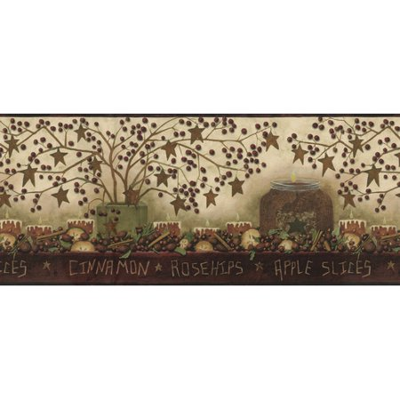 Brewster Home Fashions Borders by Chesapeake Danny Potpourri Trail 15' x 9'' Food 3D Embossed Border - Trail Wallpaper